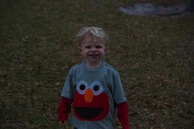 What A HAM! He LOVed his homemade Elmo shirt! :)